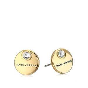 Marc Jacobs Coin Stud Crystal Gold Tone Earrings